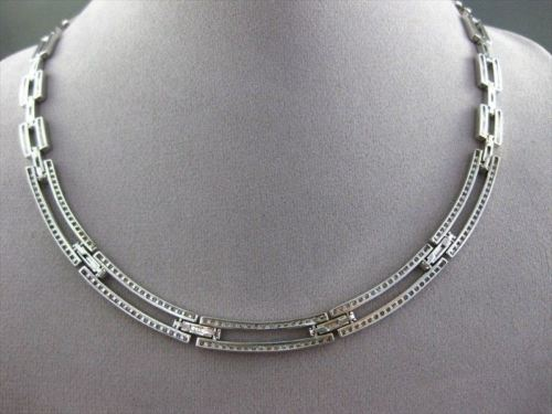 ESTATE WIDE 3.45CT DIAMOND 14KT WHITE GOLD FLAT CHOKER NECKLACE AMAZING #654