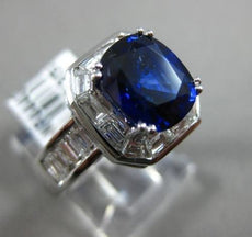 ESTATE LARGE 5.24CT DIAMOND & AAA SAPPHIRE 18KT WHITE GOLD HALO ENGAGEMENT RING