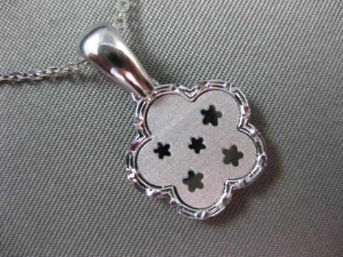 ESTATE 14KT WHITE GOLD 3D FLOWER STAR FLOATING CHARM PENDANT WITH CHAIN #25311