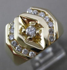 ESTATE WIDE .60CT DIAMOND 14K YELLOW GOLD OCTAGON SOLITAIRE GYPSY MEN RING 19682