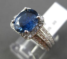 ESTATE LARGE 3.60CT DIAMOND & SAPPHIRE 14KT WHITE GOLD 3D HALO ENGAGEMENT RING