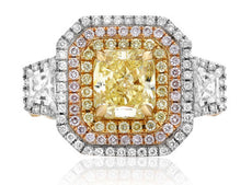 GIA 4.02CT WHITE PINK & FANCY YELLOW DIAMOND 18KT TRI COLOR GOLD ENGAGEMENT RING