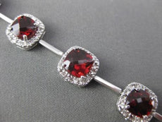 ESTATE WIDE 9.47CTW DIAMOND & AAA GARNET 14KT WHITE GOLD SQUARE HALO BRACELET