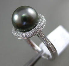 ESTATE LARGE .44CT DIAMOND 14KT WHITE GOLD 3D AAA TAHITIAN PEARL PAVE HALO RING