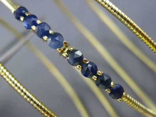 ESTATE WIDE 5.0CT AAA SAPPHIRE 14KT YELLOW GOLD FLEXIBILE SNAKE BANGLE BRACELET