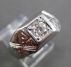 ANTIQUE LARGE .46CT OLD MINE DIAMOND 14KT WHITE GOLD FILIGREE MENS RING #23702