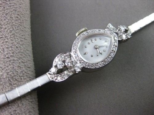 ANTIQUE 1.20CT OLD MINE DIAMOND 14KT W GOLD FILIGREE PEAR SHAPE FACE WATCH #840