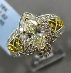 LARGE 2.07CT ROUND & MARQUISE DIAMOND 18K TWO TONE GOLD FILIGREE ENGAGEMENT RING