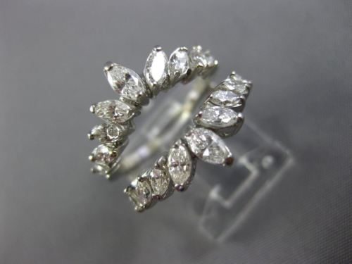 ESTATE 1.10CT MARQUISE DIAMOND PLATINUM 3D GRADUATING FLOWER INSERT RING #26006