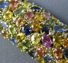 ESTATE MASSIVE 61.34CT DIAMOND & MULTI COLOR SAPPHIRE 18KT YELLOW GOLD BRACELET