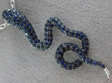 ESTATE 1.93CT DIAMOND & AAA SAPPHIRE 18K WHITE GOLD HAPPY SNAKE FLOATING PENDANT