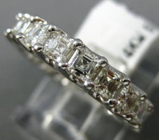 ESTATE 2.61CT ASSCHER CUT DIAMOND 14KT WHITE GOLD 3D ETERNITY ANNIVERSARY RING