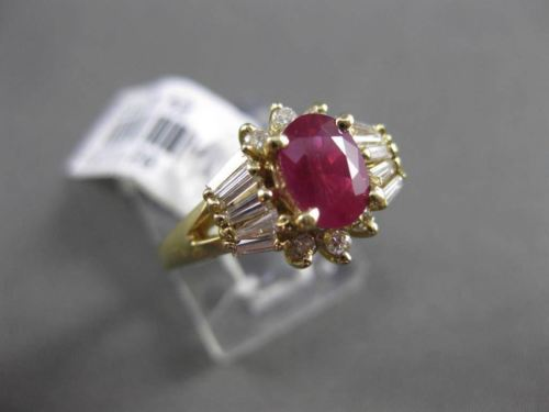 ANTIQUE 1.62CT DIAMOND & AAA RUBY 14KT YELLOW GOLD CLUSTER ENGAGEMENT RING