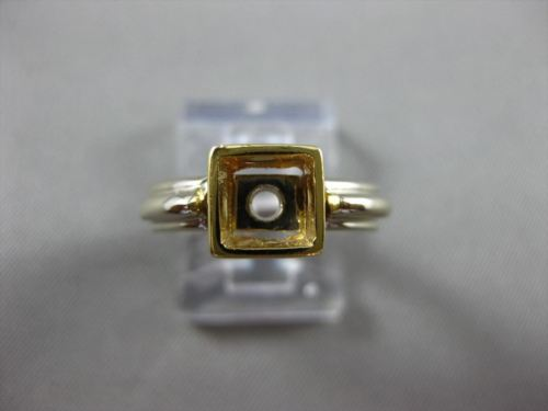 ESTATE 14KT TWO TONE GOLD HANDCRAFTED SOLITAIRE SEMI MOUNT ENGAGEMENT RING 24595