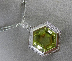 ESTATE LARGE 15.70CT DIAMOND & AAA GREEN AMETHYST18K WHITE GOLD HEXAGON NECKLACE