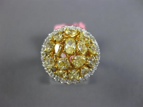 GIA LARGE 2.87CT WHITE & FANCY YELLOW DIAMOND 18KT TWO TONE GOLD 3D CLUSTER RING