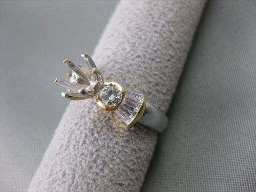 ESTATE .90CTW DIAMOND 18KT WHITE & YELLOW GOLD 3D SEMI MOUNT RING F/G VVS #21093