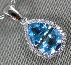 1.65CT DIAMOND & AAA BLUE TOPAZ 14KT WHITE GOLD 3D TRIANGULAR TEAR DROP PENDANT