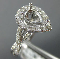 ESTATE LARGE .80CT DIAMOND 14K WHITE GOLD PEAR SHAPE SEMI MOUNT ENGAGEMENT RING