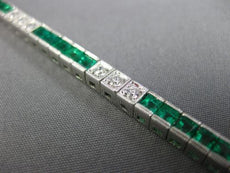 ESTATE 4.88CT DIAMOND & AAA EMERALD 18KT WHITE GOLD 3D SQUARE TENNIS BRACELET