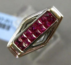 ESTATE WIDE 1.58CT DIAMOND & AAA RUBY 18KT WHITE GOLD 3D RECTANGULAR MENS RING