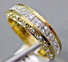 ESTATE 1.85CT ROUND & PRINCESS DIAMOND 14K YELLOW GOLD 3D ANNIVERSARY RING #1353