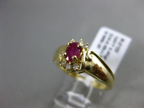 ESTATE WIDE .47CT DIAMOND & RUBY 14KT YELLOW GOLD FLOWER CLUSTER ENGAGEMENT RING