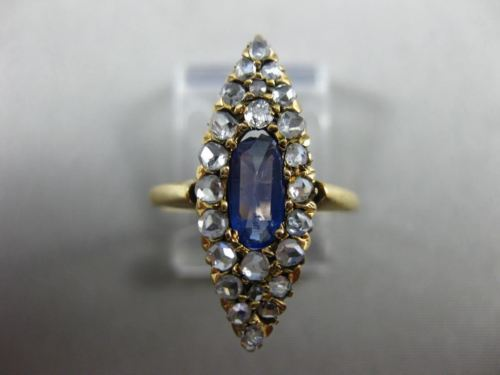 ANTIQUE WIDE 1.60CT ROSE CUT DIAMOND & AAA SAPPHIRE 14K ROSE GOLD VICTORIAN RING