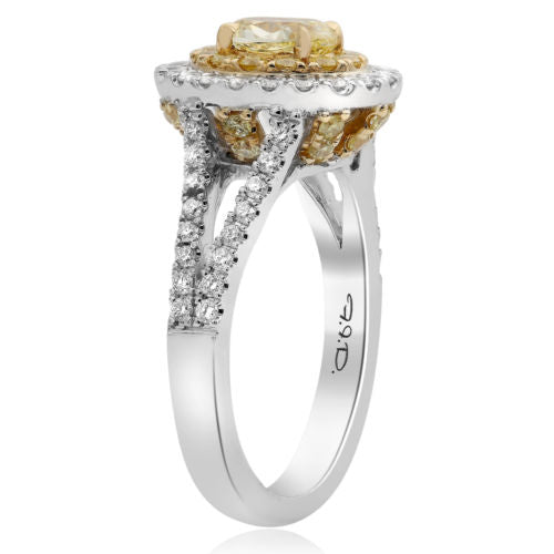 ESTATE 1.63CT WHITE & FANCY YELLOW DIAMOND 18KT 2 TONE GOLD HALO ENGAGEMENT RING