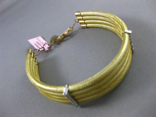 ESTATE WIDE .35CT DIAMOND 14KT WHITE & YELLOW GOLD 3D MULTI ROW BANGLE BRACELET