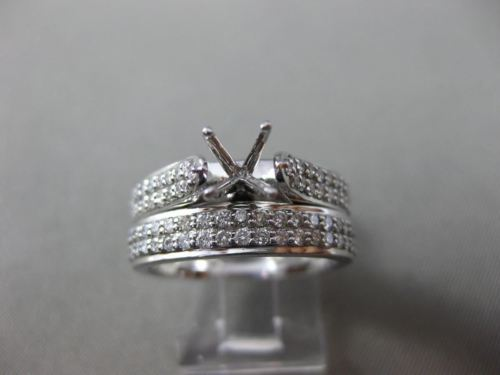 WIDE .87CT DIAMOND 14KT WHITE GOLD 3D MULTI ROW SEMI MOUNT ENGAGEMENT RING SET
