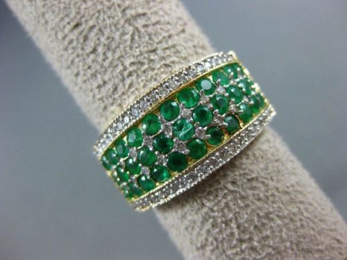 WIDE 1.50CT DIAMOND & AAA COLOMBIAN EMERALD 14KT 2 TONE GOLD 3D ANNIVERSARY RING