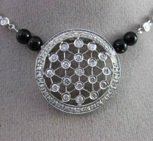 ANTIQUE LARGE 1.0CT DIAMOND & ONYX 14KT WHITE GOLD 3D ETOILE CIRCULAR NECKLACE