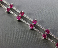 ESTATE WIDE 4.92CT DIAMOND RUBY 18KT WHITE GOLD MULTI ROW ETOILE TENNIS BRACELET