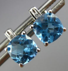 ESTATE 2.87CT DIAMOND & AAA BLUE TOPAZ 14KT WHITE GOLD 3D SQUARE STUD EARRINGS