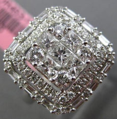 LARGE 1.39CT ROUND PRINCESS & BAGUETTE DIAMOND 18KT WHITE GOLD 3D SQUARE RING