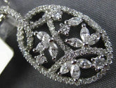 .76CT ROUND & MARQUISE DIAMOND 14KT WHITE GOLD FILIGREE OVAL LEAF FLOWER PENDANT