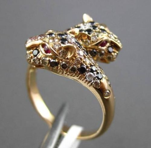 ESTATE 1.22CTW MULTI COLOR DIAMOND & AAA RUBY 18KT ROSE GOLD 3D PANTHER FUN RING