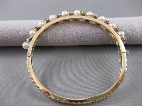ANTIQUE SAPPHIRE 4MM SEA PEARL 14KT YELLOW GOLD VAN GOGH BANGLE BRACELET #20905
