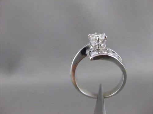 ESTATE 1.20CTW DIAMOND 14KT WHITE GOLD BYPASS ENGAGEMENT RING 13MM WIDE #20334