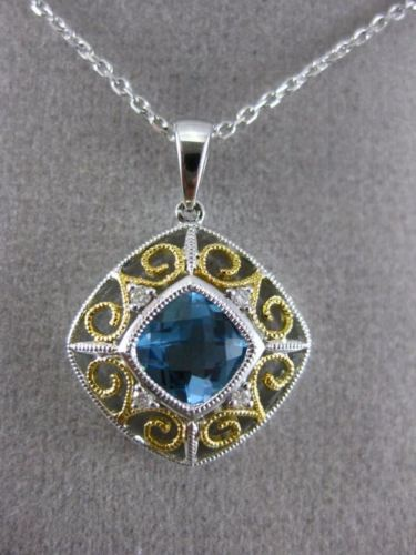 ESTATE 1.14CT DIAMOND & BLUE TOPAZ 14KT 2 TONE GOLD OPEN SQUARE FLOATING PENDANT
