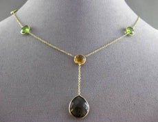 ANTIQUE 13.0CTW AAA MULTI COLOR GEM BY THE YARD 14KT YELLOW GOLD LARIAT NECKLACE