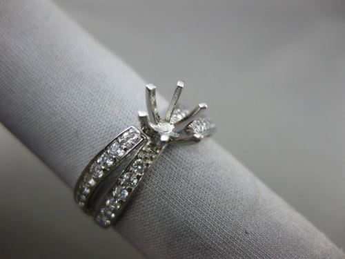 WIDE .5CT DIAMOND 14K WHITE GOLD CRISS CROSS SEMI MOUNT ETERNITY ENGAGEMENT RING