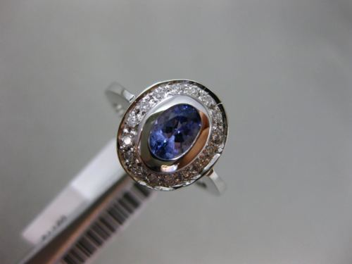 WIDE 1.16CT DIAMOND & AAA OVAL TANZANITE 14KT WHITE GOLD 3D HALO ENGAGEMENT RING