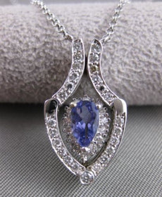 ESTATE DIAMOND TANZANITE 14K WHITE GOLD OPEN HANGING NECKLACE PENDANT #15563