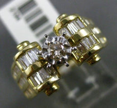 ESTATE WIDE .66CT BAGUETTE & ROUND DIAMOND 14KT TWO TONE GOLD 3D ENGAGEMENT RING