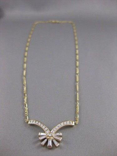 "ESTATE 1.11CTW DIAMOND 18KT YELLOW GOLD FLOWER LINK NECKLACE 16.50"" F/G VS 656"