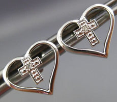 ESTATE .02CT DIAMOND 14KT WHITE GOLD 3D CLASSIC OPEN HEART CROSS STUD EARRINGS