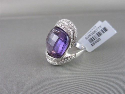 ESTATE WIDE 27MM 18KT WHITE 19.44CT AAA AMETHYST & DIAMONDS GOLD RING