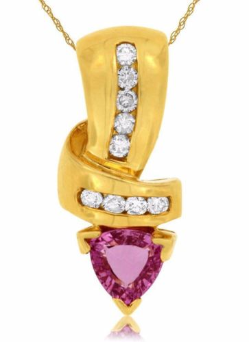 ESTATE 1.14CT DIAMOND & AAA PINK SAPPHIRE 14KT YELLOW GOLD 3D LOVE KNOT PENDANT